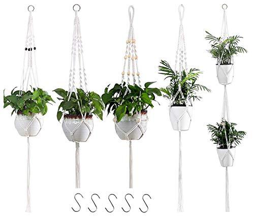 VIVILINEN Makramee Blumenampel 5er Set Baumwollseil Hängeampel Blumentopf Hängend Pflanzen Halter Aufhänger Pflanzenhalter mit 5 Haken für Innen Außen Decken Balkon Wanddekoration (5 Stück)