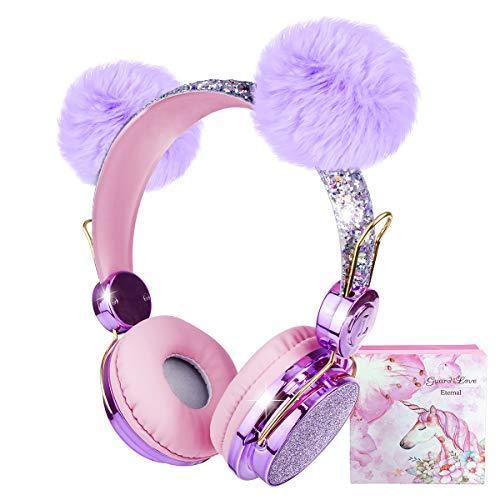 Cuffie per Bambini Wireless, Cuffie Bluetooth per Ragazze con Orecchio Soffice, Cuffie regolabili sull'orecchio con microfono per bambini/iPhone/iPad/Kindle, Regalo di Natale di compleanno(senza fili)