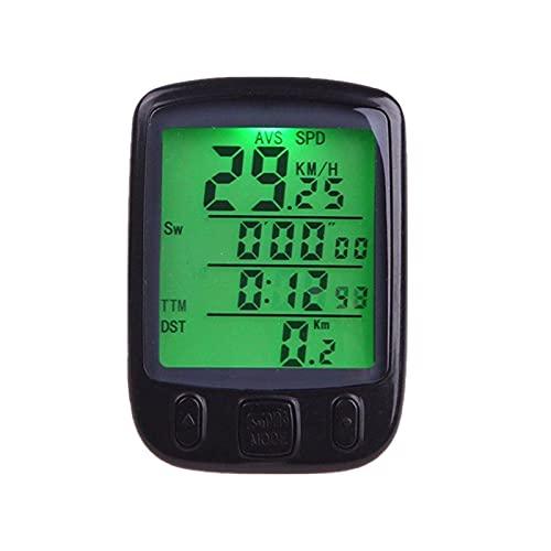 Clenp Cuentakilómetros De La Bici, Velocímetro De Plástico Impermeable De La Luz De Fondo De La Pantalla LCD del Odómetro para El Ciclo Negro
