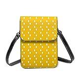 Bolso de hombro pequeño, moderno diseño de lunares amarillos abstractos, bolso de mano para teléfono móvil, monedero ligero, bolso cruzado para mujeres y niñas
