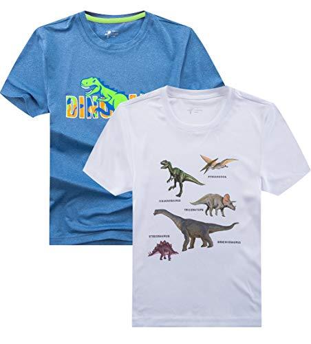 YoungSoul T-Shirt Jungen Dinosaurier Schnelltrocknend Kinder Sportshirt Sommer Kurzarm Tops 2er Pack Hellblau weiß 110-116