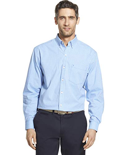 IZOD mens Long Sleeve Stretch Performance Gingham Button Down Shirt, Blue Revival, Large US