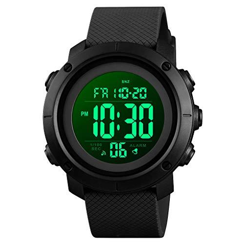 Reloj deportivo digital para hombre, resistente al agua, militar, negro, grande, para hombre, con cronómetro, luz trasera LED, alarma, fecha, reloj de pulsera