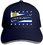 'N/A' Vintage Adulto Uruguay Bandera Fútbol Copa del Mundo Mamá Sombrero Snapback Sombrero Negro Sandwich Peaked Cap Azul Marino