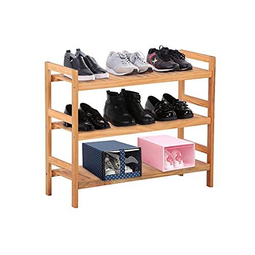 GOLDFAN Schuhregal aus Kiefernholz, 3-Stufiges Schuhregal, Lagerregal, für Zimmer, Eingangsbereich, Badezimmer, Wohnzimmer,71 × 28 × 60 cm