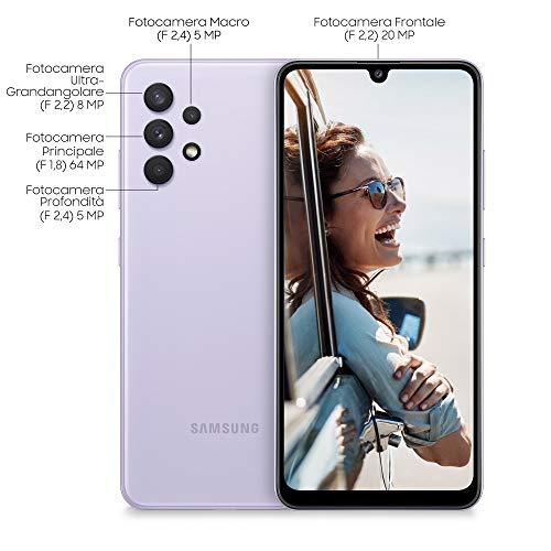 Samsung Galaxy A32 4G Smartphone Android Senza SIM 6.4 Pollici, Display Infinity-U FHD+, 4 Fotocamere Posteriori, 4GB RAM e 128GB, Batteria 5.000 mAh, Awesome Violet (Viola) [Versione Italiana]