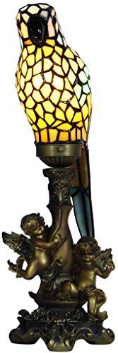 MISLD Weinlese-dekorative Tiffany-Art-buntglas-papageien-Engels-Grund Kleine Tischlampe Nachttischlampe,Blau