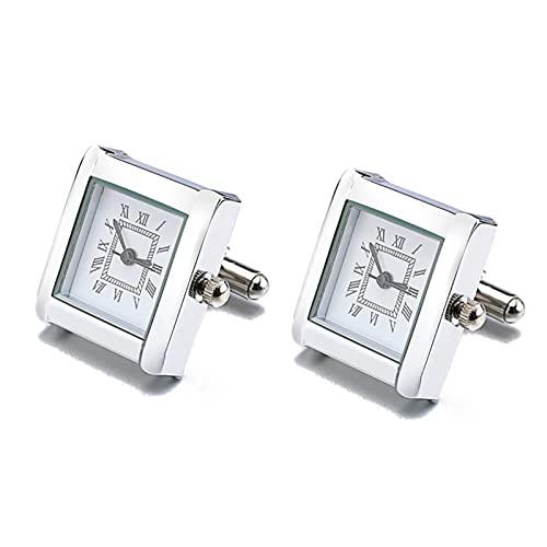 Yinch Gemelos, Gemelos de Reloj Funcionales para Hombre Gemelos Cuadrados de Reloj Real con Batería Gemelos de Reloj Digital para Hombre, Gemelos Clásicos(Color:Platinum Plated)