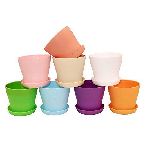 8 pièces pots de fleurs en plastique coloré, 10 cm pot pour plantes d'intérieur avec palettes pour plantes en pot et autres petites plantes