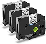 3-Pack Replace 12mm 0.47 Inch Black on White Laminated TZ Tape TZe-231 TZe231 Compatible with Brother P Touch Label Maker PT-H110 PTD210 PT-1290 PTD600 PT-P700 PT-D450, 8m