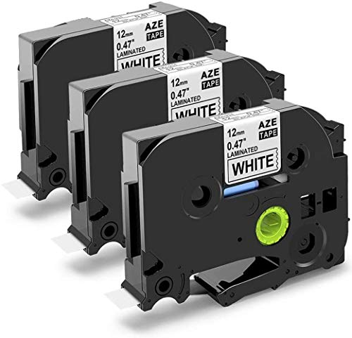 3-Pack Replace 12mm 0.47 Inch Label Tape TZe-231 TZe231 Black on White Laminated TZ Tape Compatible with Brother P Touch Label Maker PT-H110 PTD210 PT-1290 PTD600 PT-P700 PT-D450, 8m