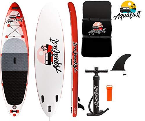 "AQUALUST 10\'6\"" SUP Board Stand Up Paddle Surf-Board aufblasbar ISUP 320x81x15cm red"