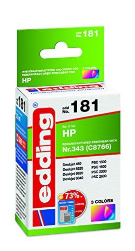 edding 18-181 Druckerpatrone EDD-181, Ersetzt: HP Nummer 343 (C8766),Einzelpatrone, 3-farbig