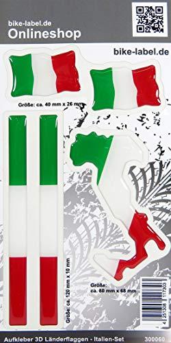 Bike Label 300060 Aufkleber 3D Länder-Flaggen Italien Italy 5er Set mit 3 Formen