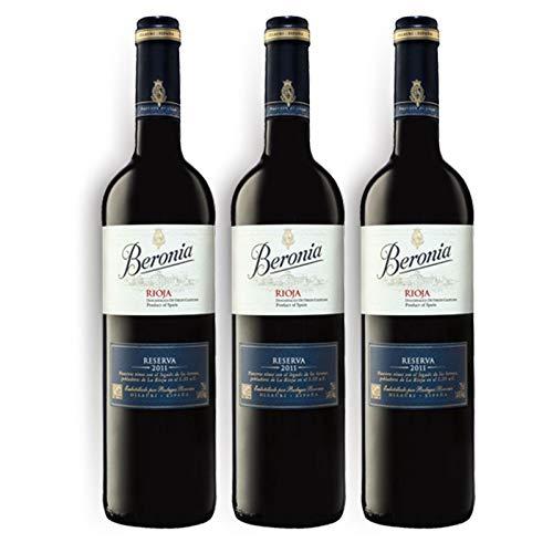Vino tinto Beronia Reserva de 75 cl - D.O. La Rioja - Bodegas Gonzalez Byass (Pack de 3 botellas)