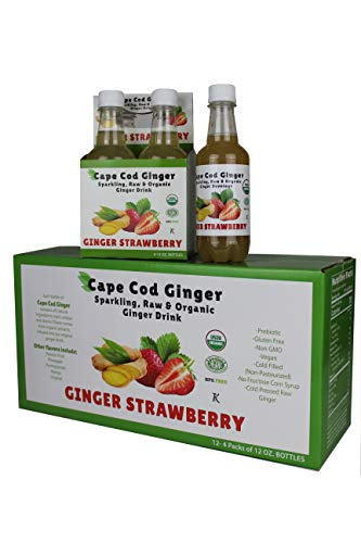Ginger Strawberry Sparkling Organic Beverage, 12 cnt,