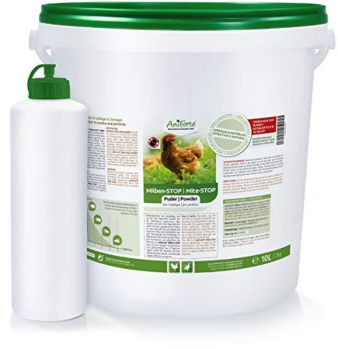 AniForte Milben Stop Puder 10 Liter / 2kg + Puderflasche gegen rote Vogelmilben, Kieselerde Pulver für Hühner