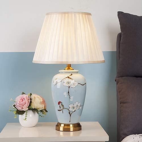 LSNLNN Lámparas de Escritorio, Lámparas de Mesa para Salón Gabinete de la Noche, Estilo Chino Oriental Modelo de Cerámica Modelo de Cerámica Lámpara Noche Azul Luz de Jardín