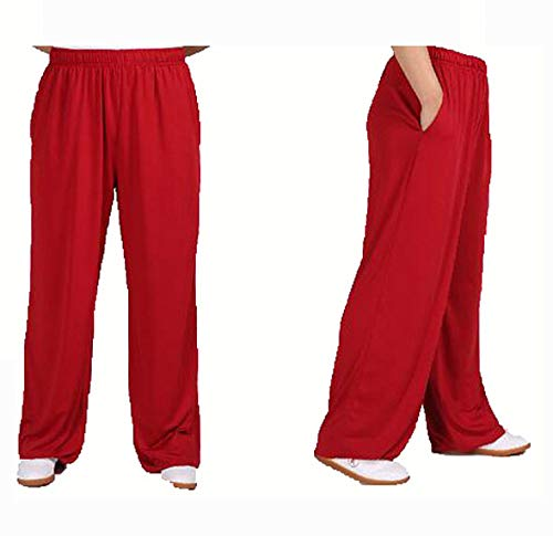Tai Chi Lantern Pantalon Lait Soie Kong Fu Uniformes De Pratique WU Shu Vêtements en Tissu Arts Martiaux Wing Chun Femmes Hommes Pantalons De Sport,Red-XXXL