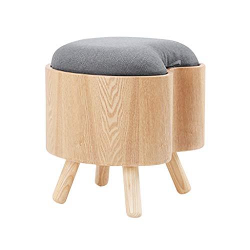 Taburete de almacenamiento de madera sólida en forma de corazón, cambio creativo Banco de zapatos Taburete de sofá Taburete de escabel 40 * 40 * 39CM ( Color : Azul , Tamaño : 40*40*39CM )