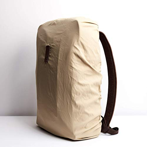 Capra Leather Backpack Rain Cover, Beige Waterproof Fabric, Outdoor Bag, Back Pack Water Protection, Bike Rucksack Protective Accessory. Mens Gifts
