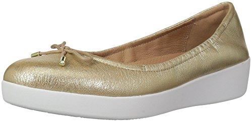 FitFlop Women's SUPERBENDY Ballerina Ballet Flat, Metallic/Gold, 7.5 M US