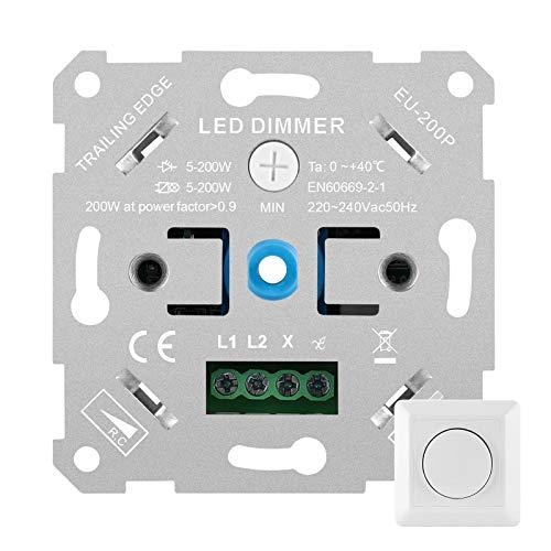 Regulador de intensidad LED Furado, regulador de intensidad de luz LED, interruptor giratorio empotrado, regulador universal para LED y halógenos de 5 a 200 W, color blanco