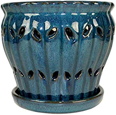 "6"" Pinwheel Fluted Ceramic Orchid Pot by rePotme (Teal Jade)"