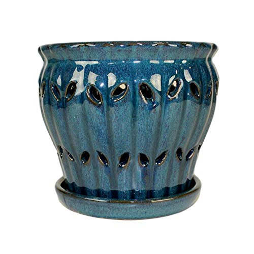 6' Pinwheel Fluted Ceramic Orchid Pot by rePotme (Teal Jade)