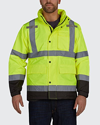 Utility Pro UHVR642 High-Vis Safety Pro Waterproof Rain Jacket with Teflon Fabric Protector, Lime, X-Large, Model Number: UHVR642-XL