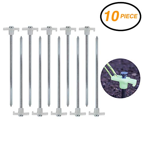 Ram-Pro 10 Pack Metal Tent Pegs - Glow in The Dark Stopper Tent Stakes Heavy Duty Garden Stakes, Camping Stakes Metal Tent pegs Tent Stakes Pegs with Plastic stoppers