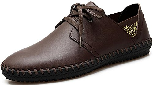 PPXID Men's Fashion Handmade Lace Up Casual Board Shoes Sports Running Sneakers-Brown 9 US size