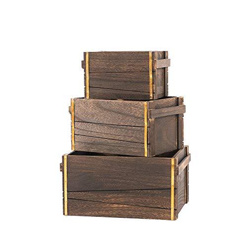SLPR Decorative Vintage Wooden Storage Crates with Metal Strips (Dark Brown, Set of 3) | Farmhouse Wood Crate Basket Box