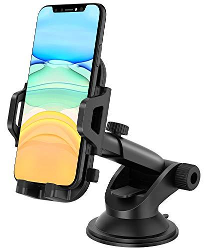 MOSOTECH Support Telephone Voiture, Rotation à 360 °, Ventouse Adhésive Lavable et Réutilisable, Universel Tableau de Bord Porte Smartphone Voiture pour iPhone, Samsung Galaxy, Huawei, etc.