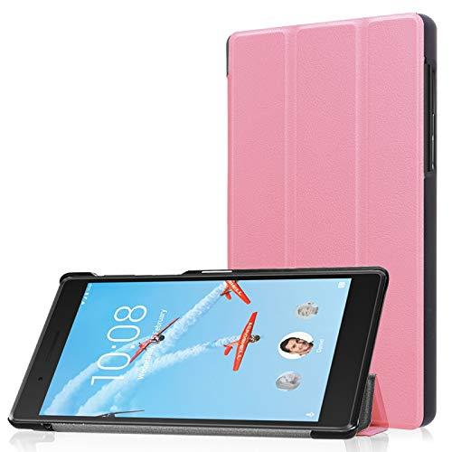 Funda Protectora para Tablet Lenovo Tab 7 / Tab 4 (TB-7504F / TB-7504N / TB-7504X) Tri-Fold Custer Textura Horizontal Flip Funda Protectora de Cuero PU con Soporte (Color : Rosado)
