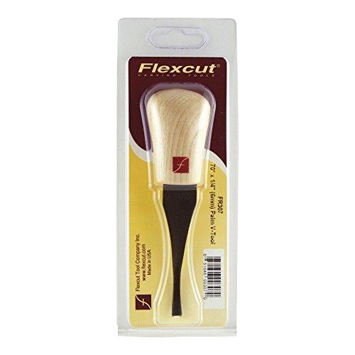 Flexcut Palm V-Tool, High Carbon Steel, Solid Ash Handle, 1/4 Inch, 70 Degrees (FR307)