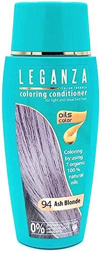 Bewaarpakket van 2 x Leganza Kleurende haarconditioner met 7 natuurlijke oliën vrij van ammoniak en parabenen Kleur 94 Asblond