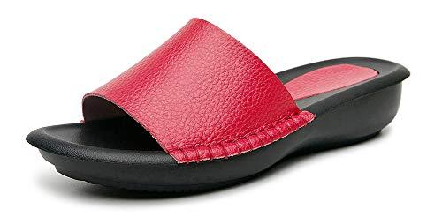 Yooeen Sandalias con Punta Abierta para Mujer Pantuflas de Cuero Verano Cómodas Mules Zuecos Plataforma Moda Zapatillas de Verano Antideslizante