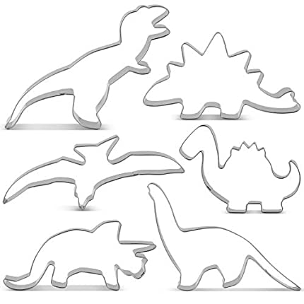 KENIAO Juego de Cortadores Galletas Dinosaurio Moldes para Galletas Infantiles - 6 Piezas - T-Rex, Triceratops, Stegosaurus, Brontosaurus, Pterodactyl y Bebé Dinosaurio - Acero Inoxidable
