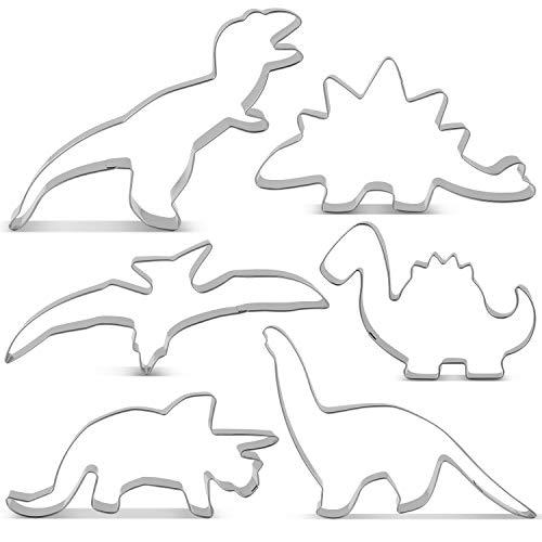 KENIAO Dinosaurier Ausstechformen Set Ausstecher Brot für Kinder - 6 Stück - T-Rex, Triceratops, Stegosaurus, Brontosaurus, Pterodaktylus und Baby Dinosaurier - Edelstahl