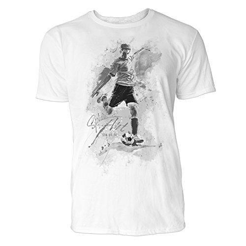 Fußball Freistoß Sinus Art ® Herren T Shirt (Schwarz Weiss) Sportshirt Baumwolle