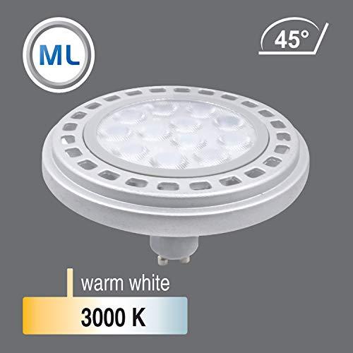 Qpar111 LED Leuchtmittel GU10 Sockel, 12W 3000K /4000K Abstrahlwinkel 45°/120° Roncalli 111 Durchmesser ersetzt 90W Halogen (3000K 45° - 6348)
