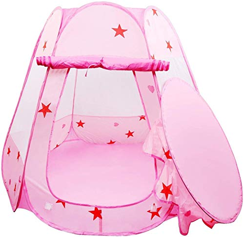 Tech Traders ® Princess Pop Up Playhouse, Play Tent , Play Tent Castle Foldable Popup Balls House for Baby Toddler Girls (Pink,47 * 35 Inch)