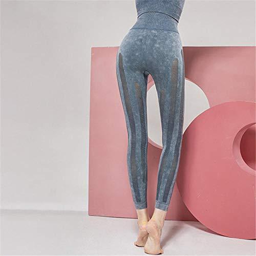 PKYGXZ Leggins mujerMedias de Mujer Pantalones de Yoga Sexy Pantalones de Yoga sin Costuras de Malla de Costura de Cintura Alta Pantalones de Deporte de Fitness para Mujer-Blue_L