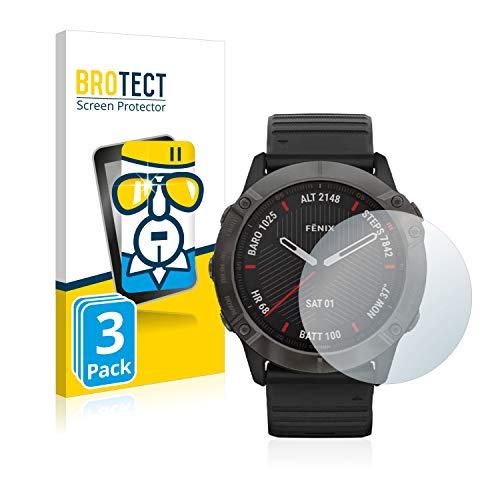 BROTECT Protector Pantalla Compatible con Garmin Fenix 6X Pro Cristal Templado (3 Unidades) Dureza 9H