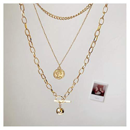 Chargances Bohemia Goud Drie Gelaagde Ketting Goud Choker Coin Hanger Amerikaanse Populaire Boho Eenvoudige Delicate Absoluut Mooie Handgemaakte Gehamerd Goud Sieraden Gift voor Vrouwen en Meisjes