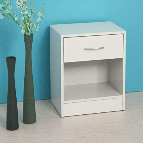 Bed Table, Set of 2 White Bedside Table Nightstand Wood Bedroom w/Drawrs End Side Storage