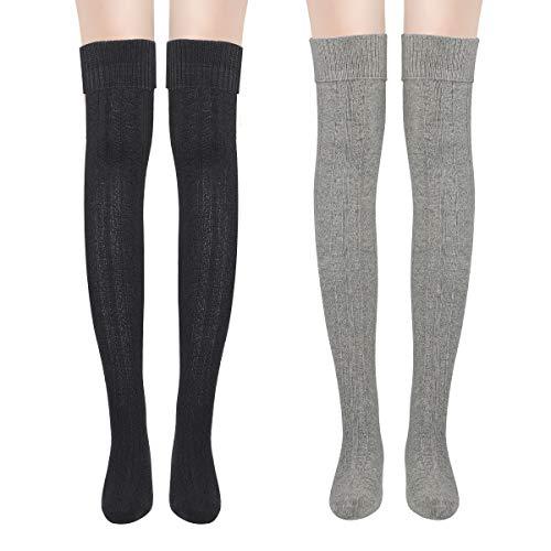 Yuccer Chaussettes Hautes Femme, 2 Pairs Chaussettes Montantes Fille Rétro élèves Tricot Longue Coton Chaussettes de Genou