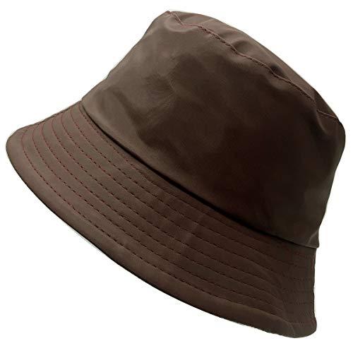 Charmoni – Cappello da pioggia, unisex, in vinile o sintetico cerato impermeabile, fodera in tela, leggero e pieghevole, taglia unica, unisex Marrone opaco Taglia unica