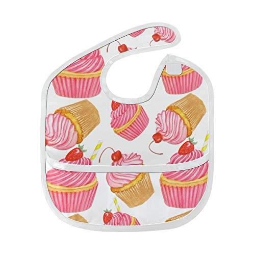 Dulce Yummy Sabroso Cupcake Postre Suave e Lavable Resistente a los olores Alimento para bebés Dribble Drool Baberos Paños de eructo para bebés en general Para niños de 6-24 meses Regalos
